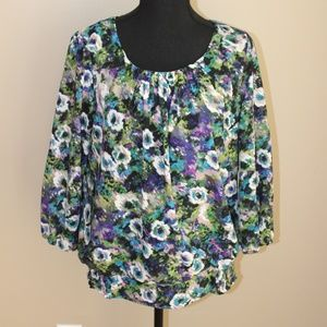 Sag Harbor Women's Floral Blouse, 3/4 Sleeve